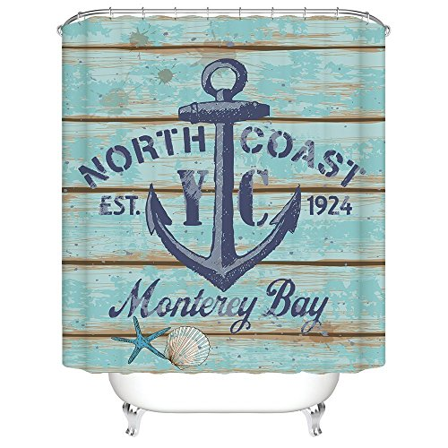 CHARMHOME North Coast Monterey Bay Nautical Anchor Rustic Wood DecorativeMildew Resistant Fabric Waterproof Shower Room Decor Shower Curtains 60