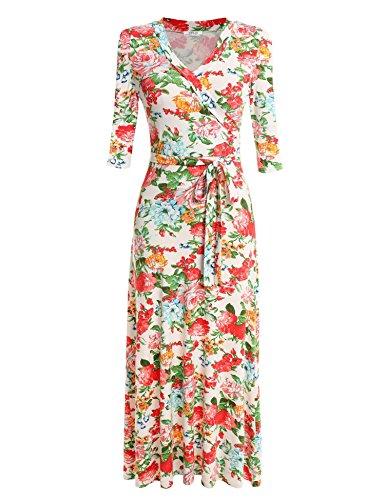 Cuello Floral Manga 3 Mujeres Casual Largo 4 Rojo V Blanco Meaneor Vestido Elegante Noche Fiesta x8qFw18Y