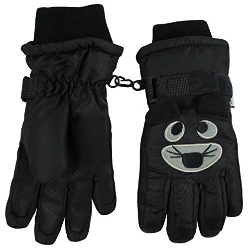 N'Ice Caps Kids Cute Animal Faces Cold Weather Thinsulate Waterproof Gloves (5-6 Years, Tiger - Black)