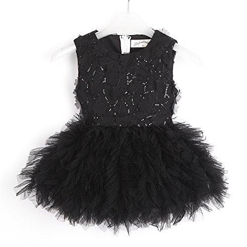 Flofallzique Flower Tutu Leotard Costume Dress Tulle Christening Birthday Dress Sequined Wedding Dresses (2, black)