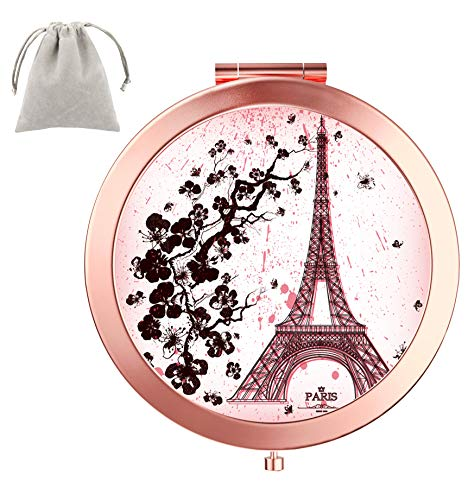 Dynippy Compact Mirror Round Rose Gold MakeUp Mirror Folding Mini Pocket Mirror -