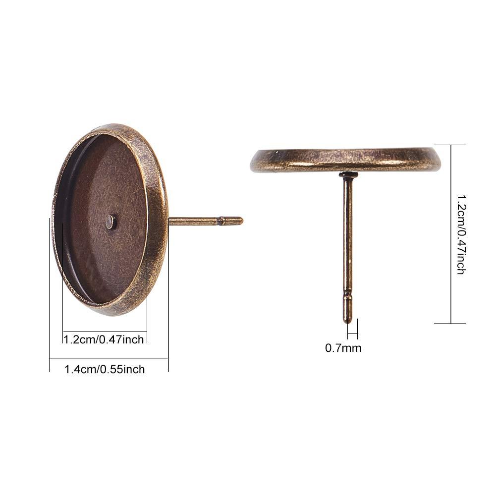 NBEADS 500 Pcs Antique Bronze Color Brass Ear Stud Components Bezel Settings Blank Peg /& Post Earring Findings for DIY Earring Making