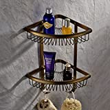 Solid Brass Products Wall Mounted Corner Triangle Shower Wire Basket 2 Tiers Shower Caddies Storage Cosmetic Holder Bathroom Hardware (antique brass Finish)