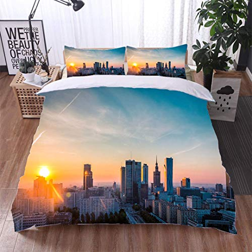 VROSELV-HOME 3 PCS King Size Comforter Set,Warsaw Downtown Sunrise Aerial View Poland,Soft,Breathable,Hypoallergenic,with 1 Pillowcase for Kids Bedding