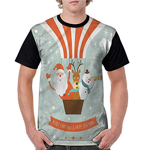 Raglan Baseball Tee Short Sleeve,Santa,Hot Air Balloon Retro S-XXL Men Fashion Shirts