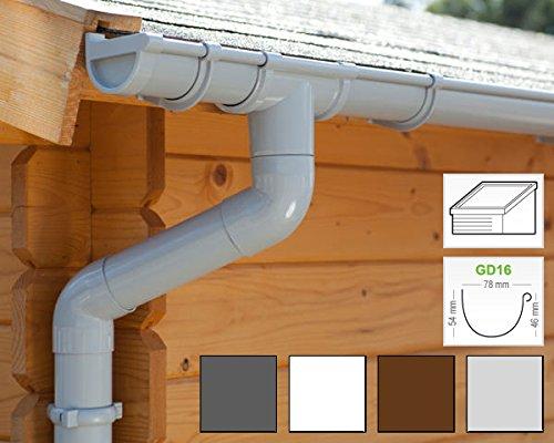 Komplettes Set bis 3.50 m, Hellgrau | GD16 1 Dachseite in 4 Farben! Pultdach Dachrinnen//Regenrinnen Set