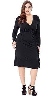 40c7fb6ed8 Bigood Women Ladies Plus Size Long Sleeve V Neck Party Casual Midi Dress