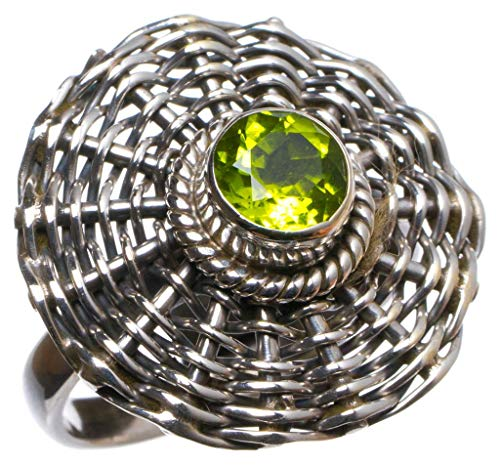 Natural Peridot Handmade Unique 925 Sterling Silver Ring, US Size 6.25 X2296 ()