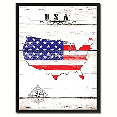 State Flag Canvas Print, Black Picture Frame Gifts Home Decor Wall Art Decoration