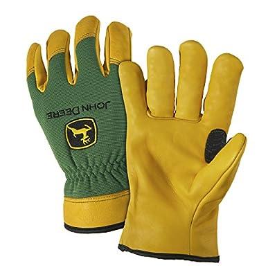 John Deere JD00008 2XL Deerskin Leather Gloves, 2XL, Tan Green (1 pair)