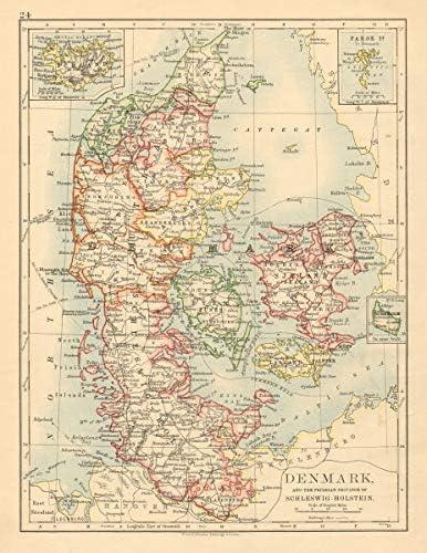Amazon Com Denmark Slesvig Holsten Prussian Schleswig Holstein Johnston 1892 Old Map Antique Map Vintage Map Printed Maps Of Denmark Posters Prints