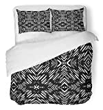 Emvency 3 Piece Duvet Cover Set Breathable Brushed Microfiber Fabric Tribal African Pattern Seamlessly Tiling Fills Batik Africa Geometric Abstract Skin Bedding Set with 2 Pillow Covers Twin Size
