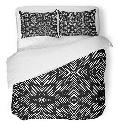 Emvency 3 Piece Duvet Cover Set Breathable Brushed Microfiber Fabric Tribal African Pattern Seamlessly Tiling Fills Batik Africa Geometric Abstract Skin Bedding Set with 2 Pillow Covers Twin Size by Emvency