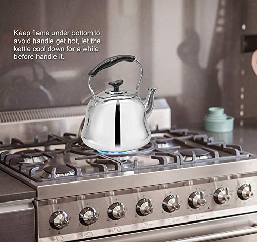 Tea Kettle Stovetop Teapot Stainless Steel Hot Water Kettle Whistling - Mirror Finsh,Folding Handle, Fast To Boil, 2 Liter Whistling Teakettles by Weftnom (Image #3)