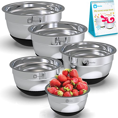 Decorated Kitchen (Stainless Steel Mixing Bowls Set With Non Slip Bottom (Set of 5). Sizes- 8, 5, 3, 1.7, 0.75 QT. For Healthy Meal. Must in Every Kitchen. With Special Bonus- Enjoy Decorated Recipe Book.)