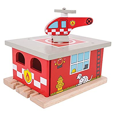 Bigjigs Rail Firestation Shed with Helipad & Fire Rescue Helicopter - Other Major Wood Rail Brands are Compatible: Toys & Games