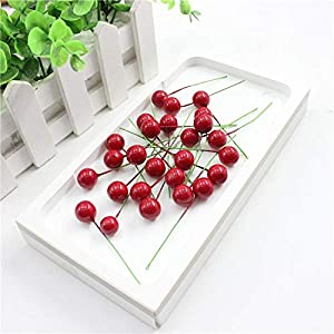10pcs/lot Mini Artificial Plastic Fruit Small Berries Artificial Flower red Cherry Stamen Pearlized Wedding Christmas Decorative,Mushrooms Berries 2