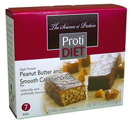 PROTIDIET - High Protein Diet Bar - Peanut Butter & Smooth Caramel Crisp - Low Calorie - High Fiber - Aspartame Free - 7/Box by Protidiet