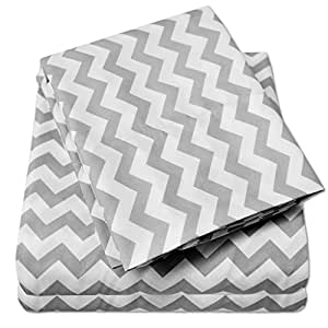 1500 Supreme Collection Bed Sheets - Premium Quality Bed Sheet Set, Since 2012 - Deep Pocket Wrinkle Free Hypoallergenic Bedding - 4 Piece Sheets - Chevron Print- King, Gray