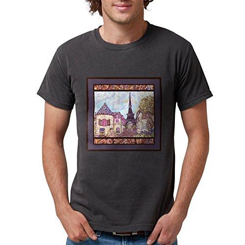 Tower Las Paris Vegas Eiffel (CafePress - Paris Eiffel Tower Pointillism Landscape T-Shirt - Mens Comfort Colors Shirt)