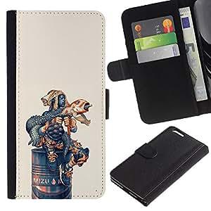 LECELL--Cuero de la tarjeta la carpeta del tirón Smartphone Slots Protección Holder For Apple Iphone 6 PLUS 5.5 -- Lanzamientos de cohetes divertido Iguana --