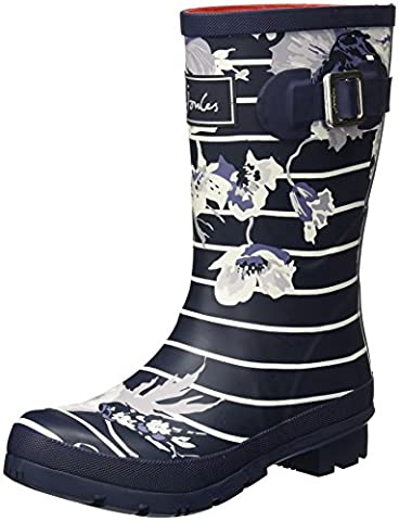 Joules Women's Molly Short Printed Welly Rain Boots, Navy, Rubber, 7 M - Wellies