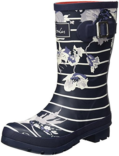 Joules Women's Molly Welly Rain Boot (5 B(M) US, French Navy Posy Stripe)