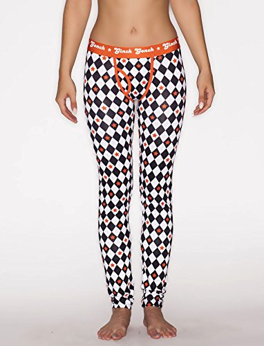 Ginch Gonchwomen's Rockstar Diamond printed Long Johns Large Black/orange/white