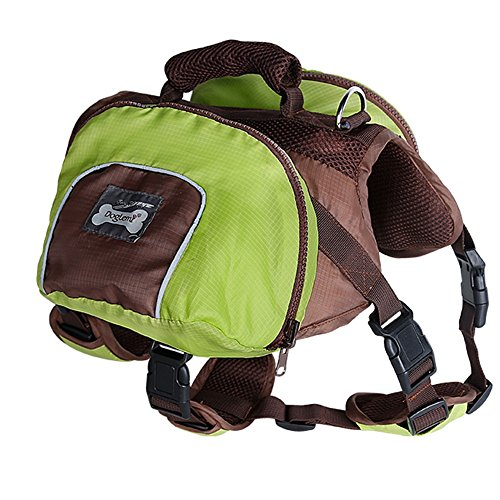 Kuoser Dog Backpack, Pet Adjustable Saddle Bag Backpack Harness Carrier Large Capacity Tripper Hound Bag for Traveling Hiking Camping for Medium & Large Dog Green XL