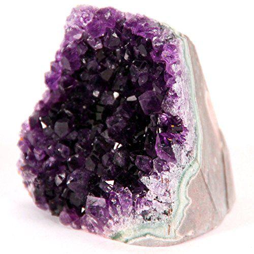 Best Amethyst Cluster -This Super-Sized Cluster is 3 to 3.5 lbs of Powerful Purple Amethyst Crystals which Grew on a Base of Volcanic Rock in Uruguay Called Basalt. It Features a Cut-Base.