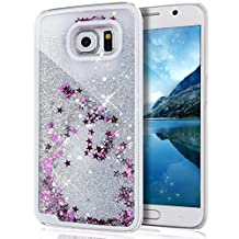 Galaxy S7 Edge Case, Sunday Gallery Samsung Galaxy S7 Edge Hard Case Fashion Creative Design Flowing Liquid Floating Luxury Bling Glitter Sparkle Star Hard Case Cover (Silver)
