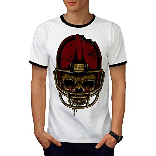 American Football Skull Face Men S Ringer T-shirt   Wellcoda - Sled Hockey Sticks