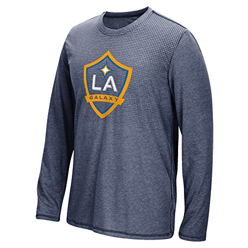 MLS Los Angeles Galaxy Men's Climacool Aeroknit Long Sleeve Tee, Heathered Navy, Medium