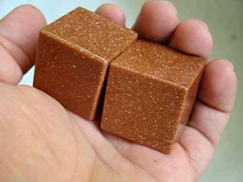 Ham2118 RED Goldstone Carved CUBES Pair Hexahedrons