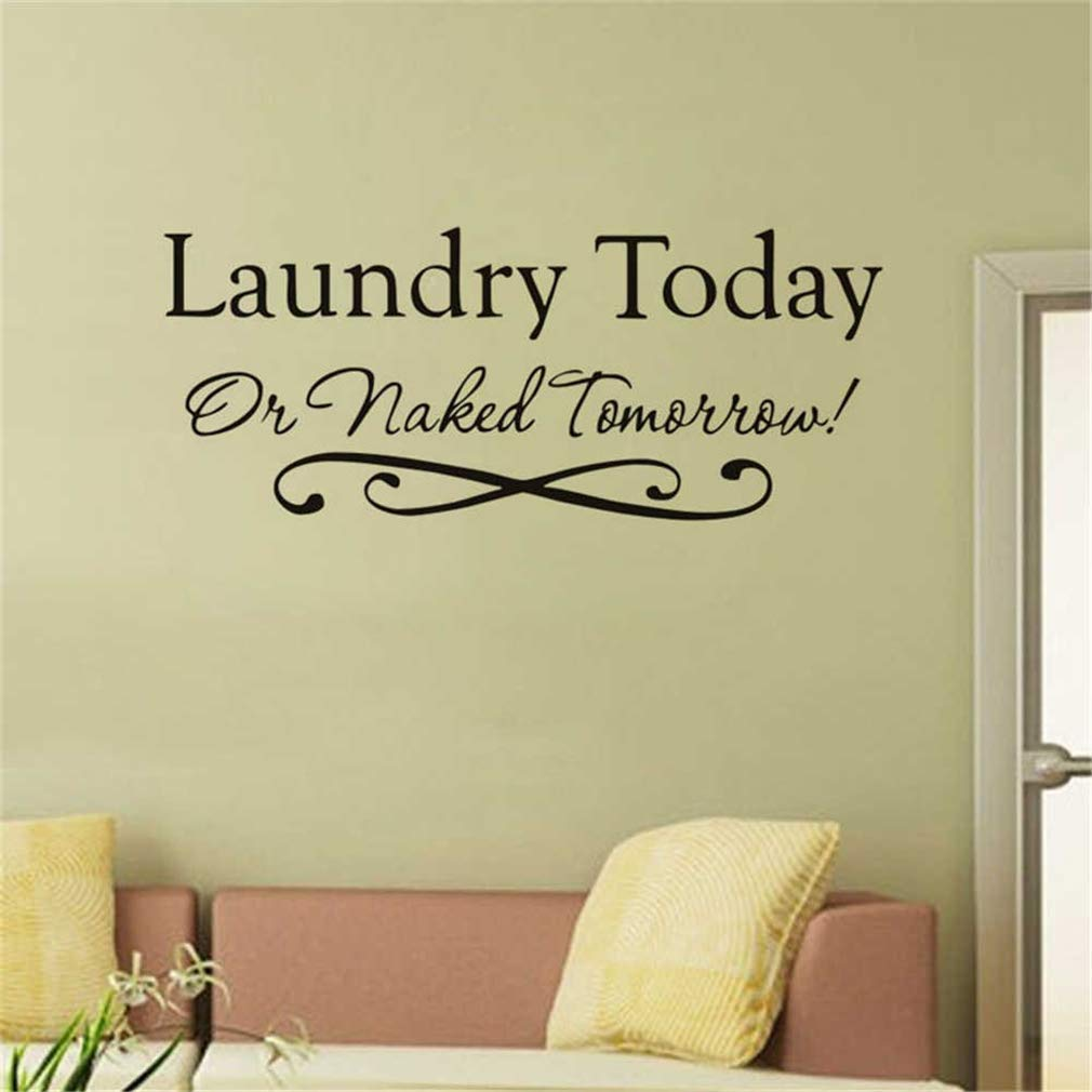 CARDEON Laundry Today or Tomorrow Vinyl Wall Quotes Stickers Sayings Home Art