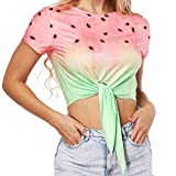 Women T-Shirt, Graphic Fruit Print Sport Tops Summer Sexy O-Neck Loose Causal Short Sleeve Crop Top Tie Front L
