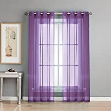 Window Elements Sheer Elegance Faux Linen Extra Wide 108 x 84 in. Grommet Curtain Panel Pair, Purple