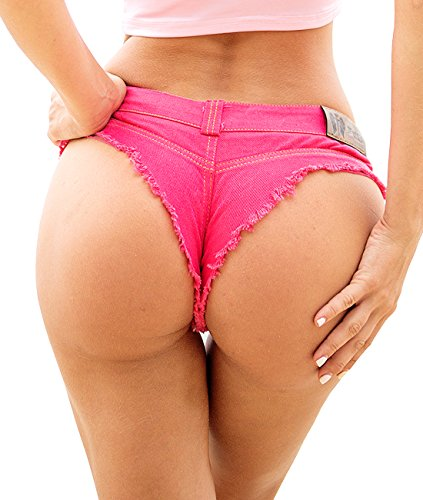 Pink Peach Women's Low Waist Denim Hot Shorts Sexy Club Bikini Thong Beachwear (M Waist 28-29, - Hot Shorts