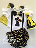 Batman Dark Knight Superhero Boys First Birthday Outfit Cake Smash Outfit with Cape w/optional Party Hat