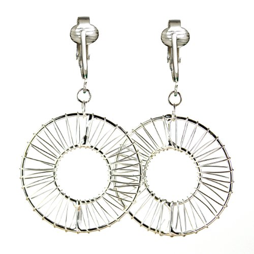 Bold Silver Tone Wire-wrapped Hoops Clip On Earrings w Pierced Look-Silvery Handcrafted Glamour, Art Deco