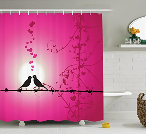 Ambesonne Barbed Wire Decor Collection, Love Birds Kissing on Barbed Chain Hearts Romantic Honeymoon Marriage Art, Polyester Fabric Bathroom Shower Curtain, 75 Inches Long, Magenta Pink (Love Bird Collection)