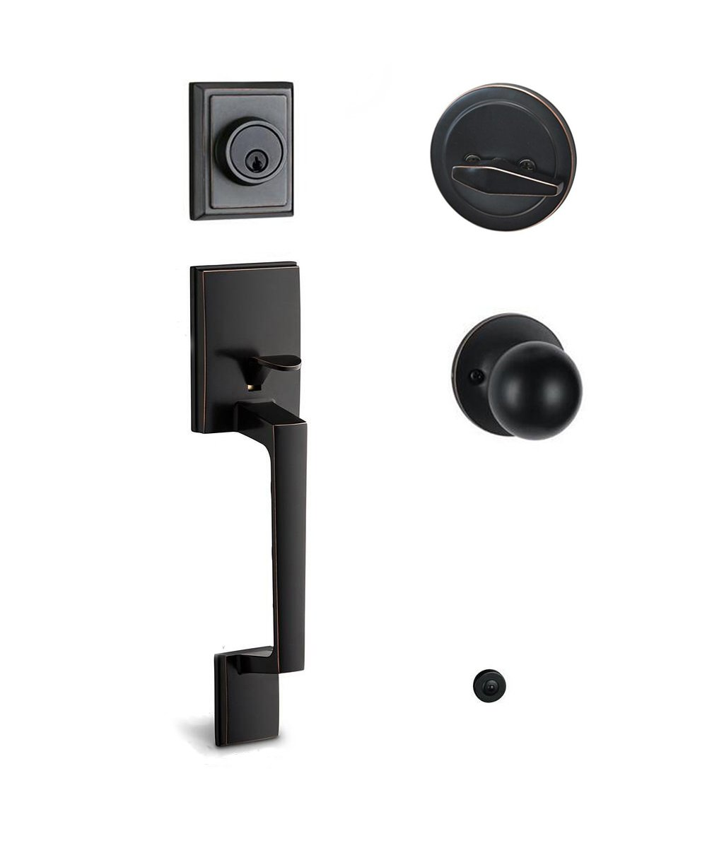 TOGU HS14 Heavy Duty Single Cylinder Handleset with Knob Handle,Solid Entry Door Lockset Leverset for Home Exterior Doors,Easy Installation,Oil Rubbed Bronze