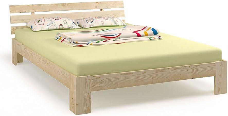 Cama doble madera 180 x 200 cm madera maciza estructura de cama con somier y 7 zonas 90 x 200 colchones H3 (Natural 180 x 200)