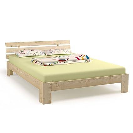 Cama doble madera 180 x 200 cm madera maciza estructura de cama con somier y 7