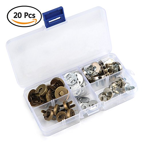 Brass Closure - TIMESETL 20Set 14/18mm Magnetic Snap for Purse Magnetic Bag Fastener Clasp Button with Storage Box - Silver/Antique Brass