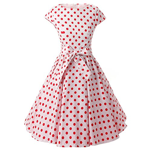 CUTECATCOS Women's Boat-Neck Polka-Dot Short-Sleeve Knee Fit-and-Flare Dress, White Red, - Cap Sleeve Boatneck