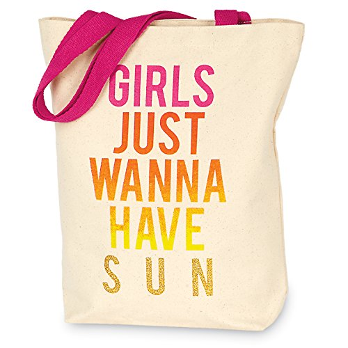 Mud Pie 8613308WH Girls Just Wanna Have Sun Canvas Beach Tote Bag (Tot Girl)