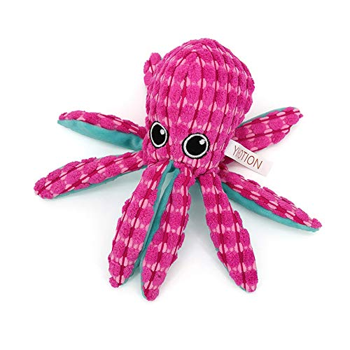 AXEN Ocean Series Dog Toys, Octopus Shape, Cute and Squeaky for Aggressive Chewers, Pink Octopus