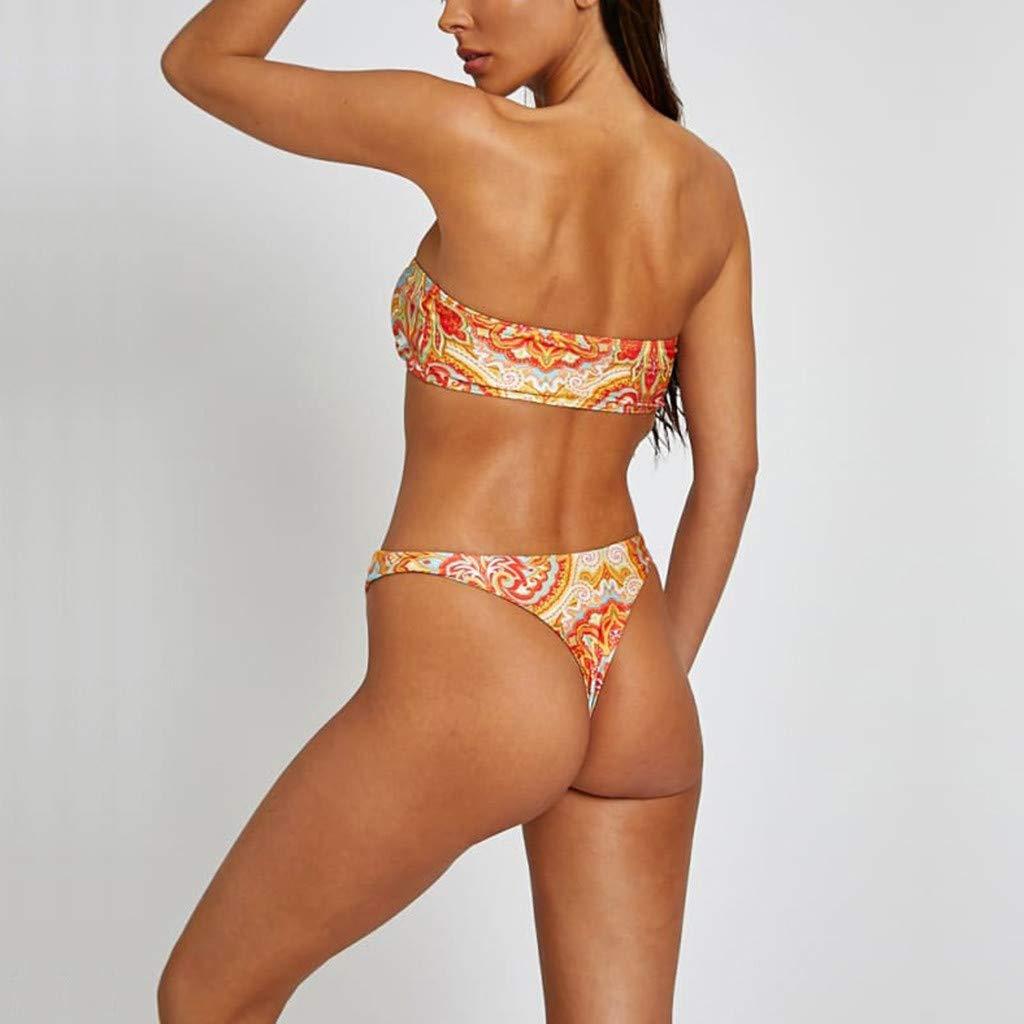AG/&T⊙◡⊙ Costumi da bagno a due pezzi arricciati da donna Macrame Back Swimwear Set di costumi da bagno con cinturino e tracolla