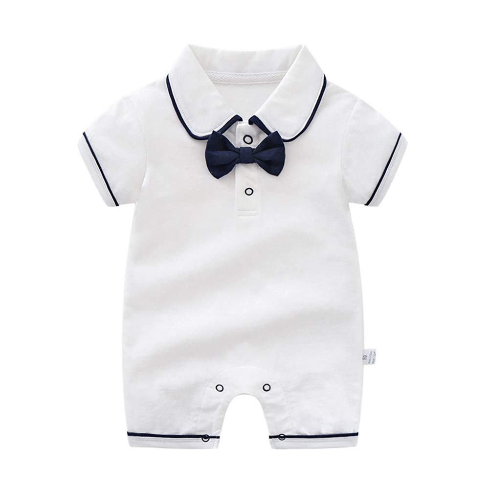 BBKidss Baby Boys Gentleman Romper Outfit Summer Short Sleeve Cotton Onesie Bodysuit with Bow Tie
